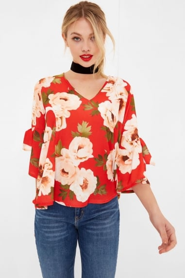 Red Floral Print Tie Sleeve Blouse