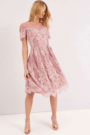 Dusty Pink Lace Dress