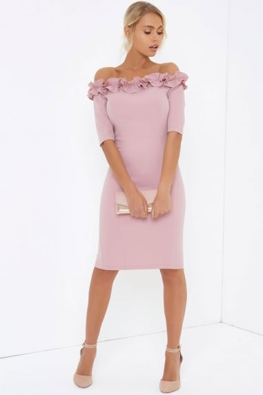 Rose Bardot Bodycon Dress