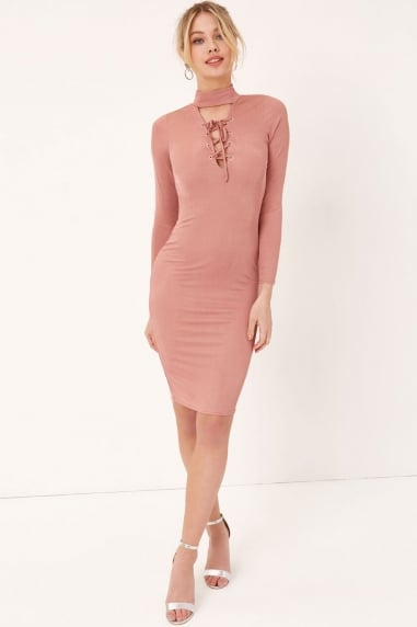 Pink Tie Bodycon Dress