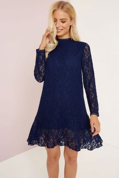 Navy Lace Shift