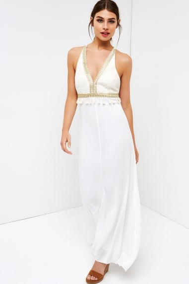 White Embroided Maxi