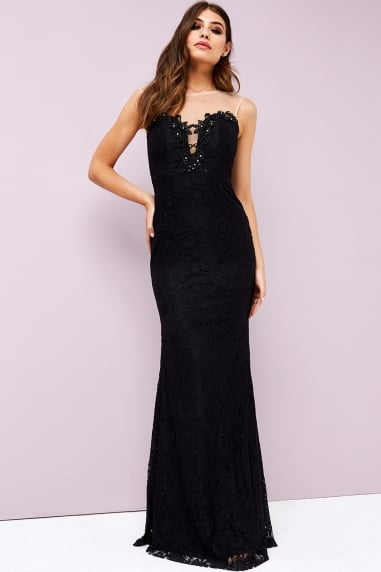 Black Lace Trim Maxi