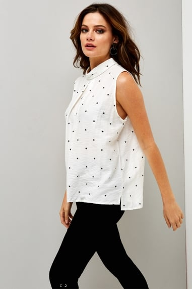 Black and White Star Sleeveless Blouse