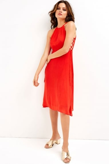 Red Halter Side Tie Dress