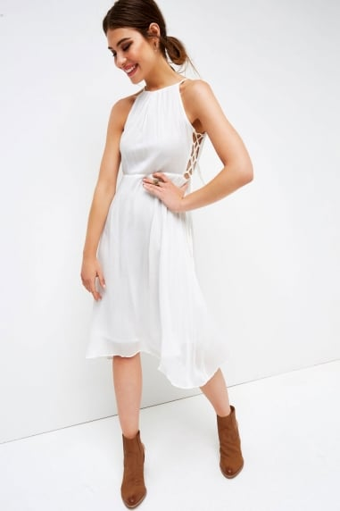White Halter Side Tie Dress