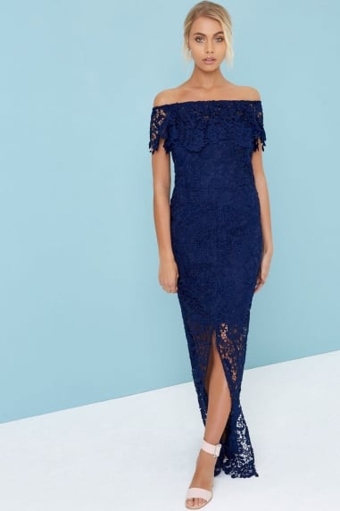 Navy Bardot Maxi Dress