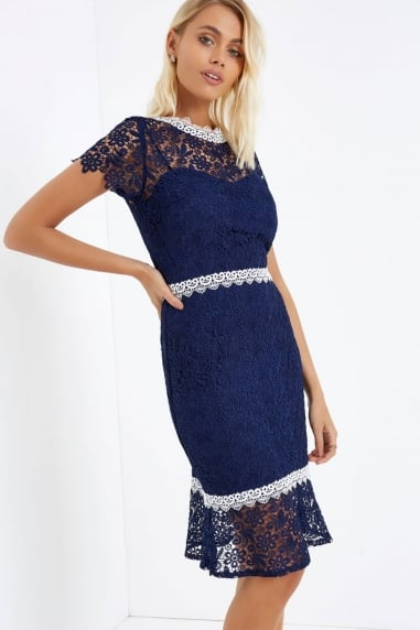 Navy Crochet Peplum Hem Dress