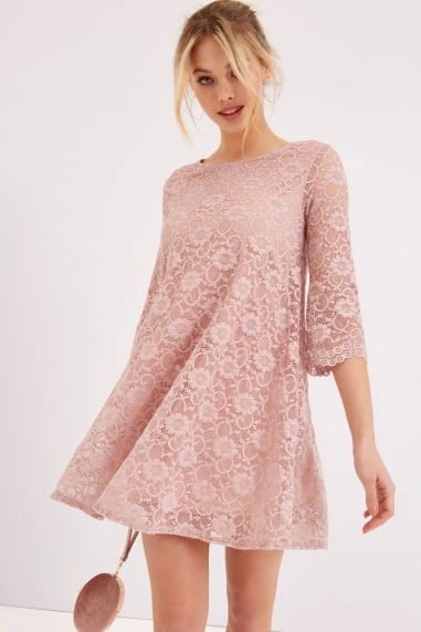 Pink Lace Shift Dress