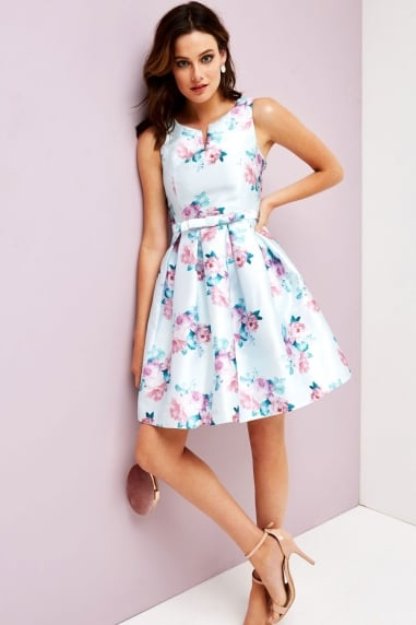 Pale Blue Floral Skater Dress