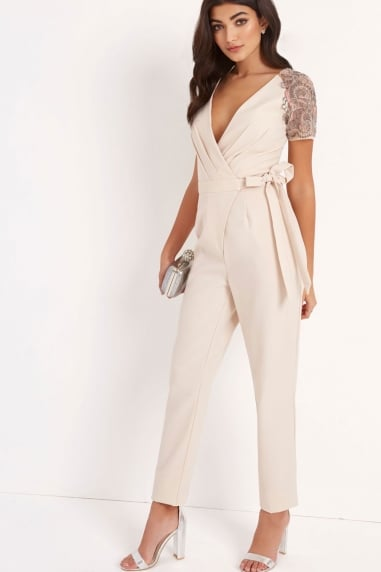 Cream Wrap Jumpsuit