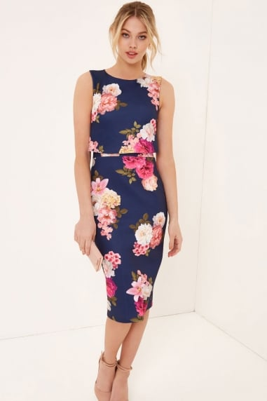 Navy Print Bodycon