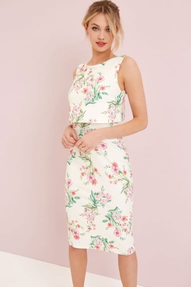 Cream Floral Print Bodycon