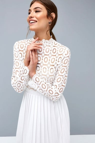 White Crochet Lace Midi Dress with Pleats