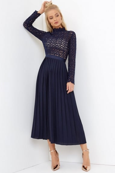 Alice Navy Crochet Lace Midi Dress with Pleats