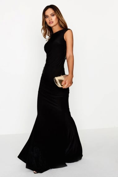 Black Fishtail Maxi