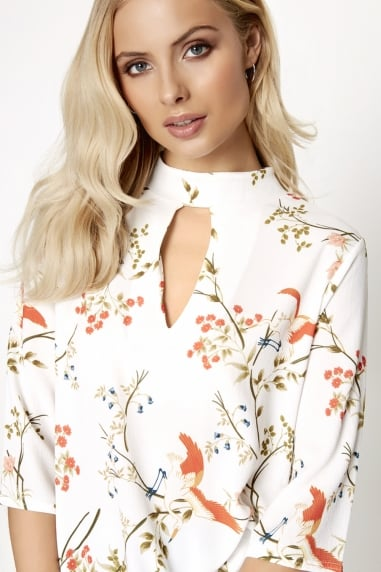 Botanical Print Choker Top