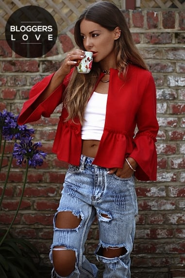 Red Frill Hem Jacket