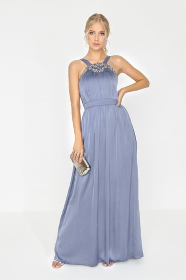 Lavender Grey Jewel Maxi Dress