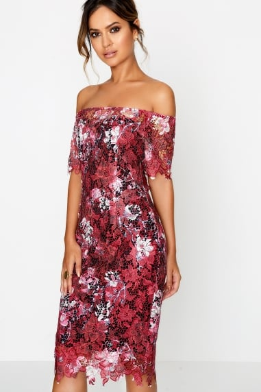 Wine Blossom Print Bodycon Dress