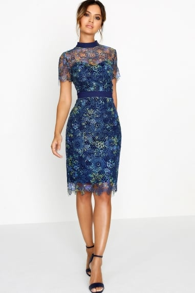 Navy Print Bodycon Dress