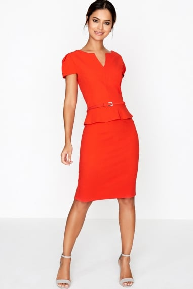 Tomato Peplum Dress