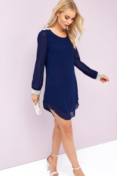 Navy Chiffon and Pearl Shift Dress