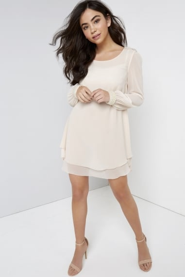Nude Chiffon and Pearl Shift Dress
