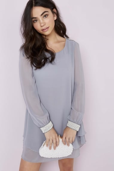 Grey Chiffon and Pearl Shift Dress