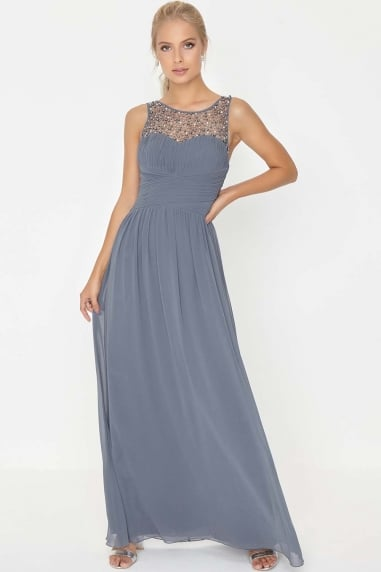Grace Grey Embellished Neck Maxi Dress