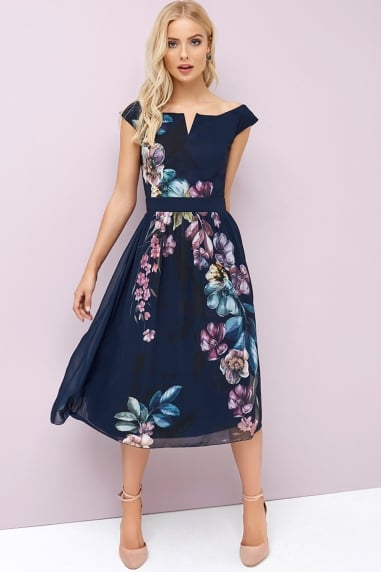 Navy Floral Prom