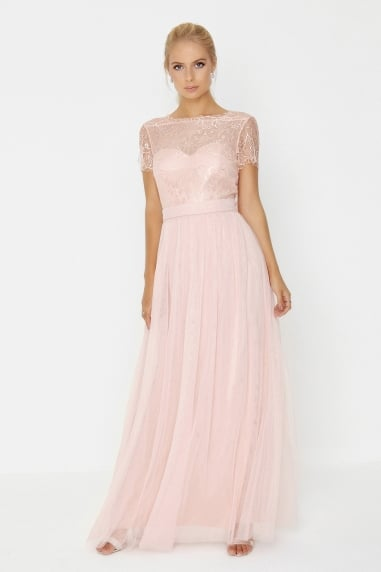 Pink Lace Overlay Maxi Dress