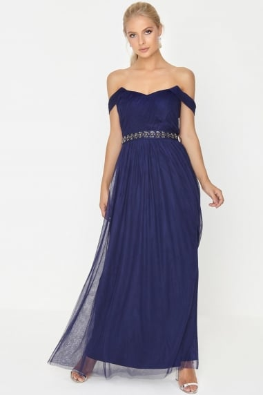 Navy Jewel Waist Maxi