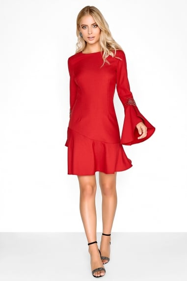 Crimson Fluted Dress