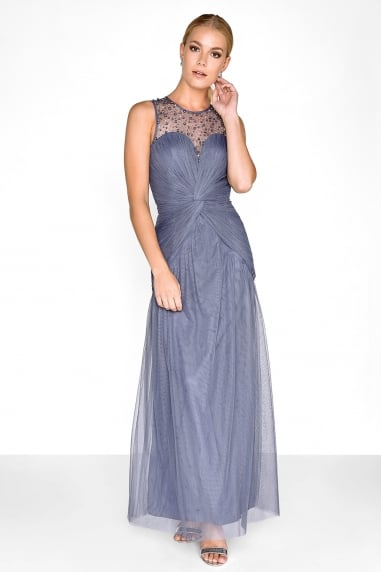 Grey Knot Waist Maxi Dress