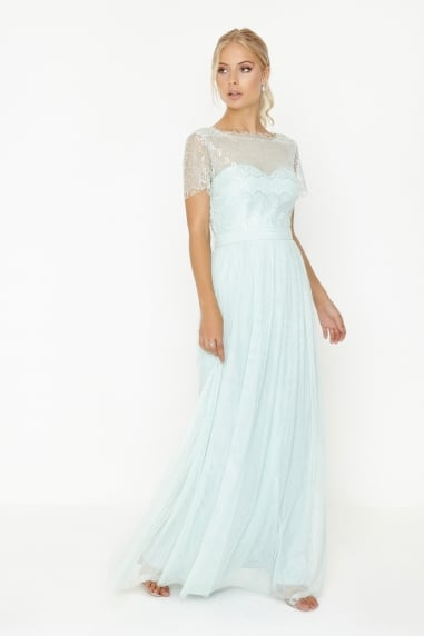 Bridesmaid Mint Lace Overlay Maxi Dress