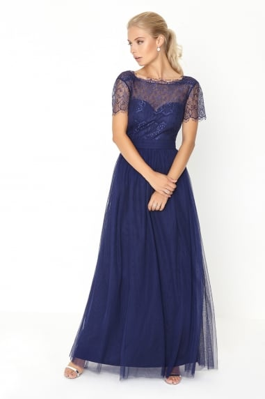 Navy Lace Overlay Maxi Dress