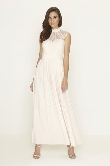 b9bde8e99f Nude Pleated Maxi Dress. Outlet Little Mistress ...