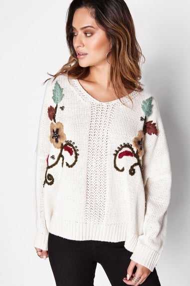 Beige Embellished Jumper