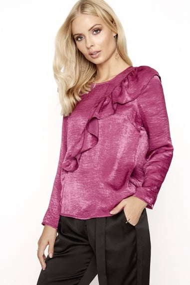 Raspberry Satin Blouse