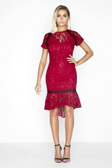 Paper dolls lace banded dress red