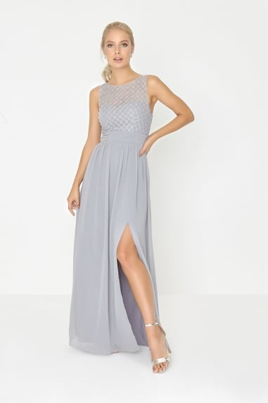 Grey Pearl and Lace Maxi