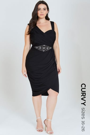 Black Ruched Midi Dress With Embellished Waist