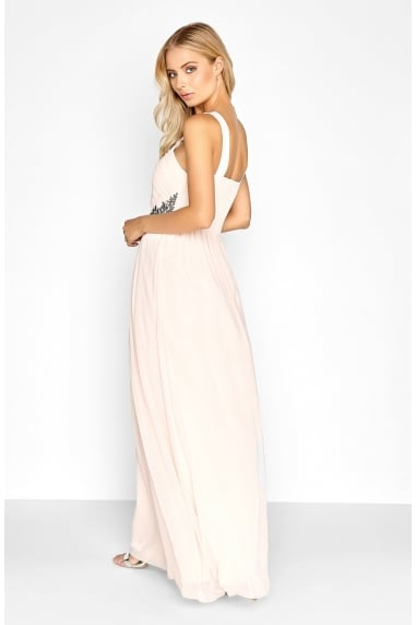 Nude Ruched Maxi