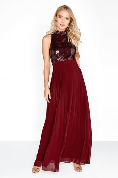 Merlot Pleat Maxi Dress