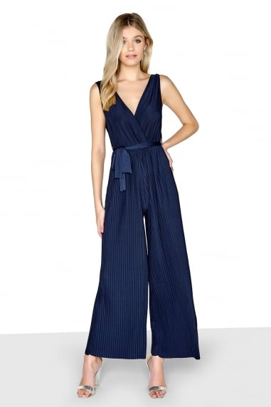 Navy Pleat Jumpsuit
