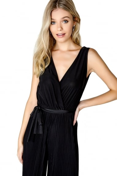 Black Pleat Jumpsuit