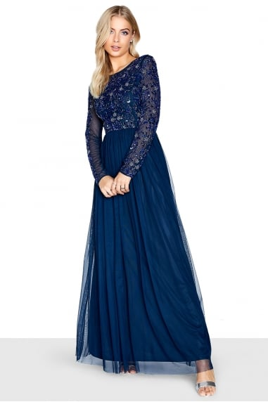 Hartly Navy Sequin Embellished Maxi Dress