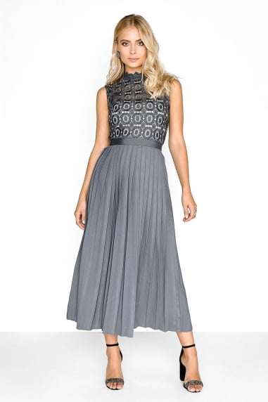 Grey Pleat Midi