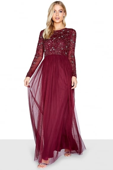 Burgundy Embellished Maxi